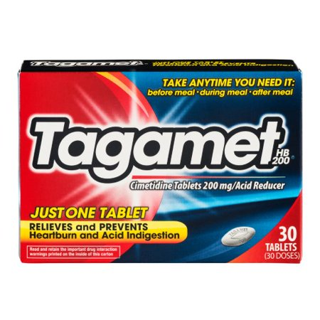 Tagamet Acid Reducer Hb These Tagamet HB 200 Tablets deliver quick and effective relief from your symptoms. They treat heartburn and acid indigestion that are caused by eating or drinking certain foods and beverages, such as hot and spicy foods. These acid reducer tablets are effective whether you take them before, during or after meals and drinks. They're ideal for taking at home, while at a dinner party, at a restaurant, while on vacation and much more.