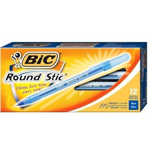 BIC Round Stic Ball Pen, Medium, Blue, 1-Dozen