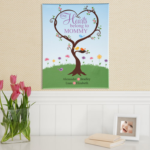 "Personalized Hearts Belong To Canvas, Single Child, 11"" x 14"""