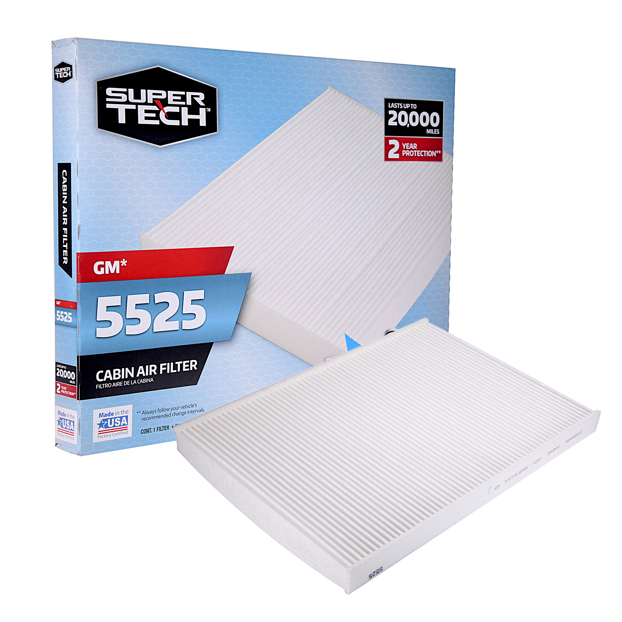 SuperTech Cabin Air Filter 5525, Replacement Air/Dust Filter for GM