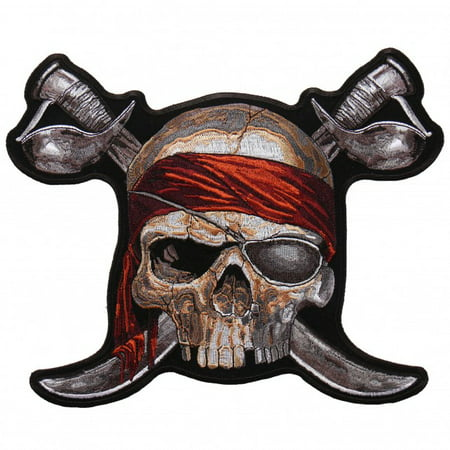 PIRATE SKULL 2, High Thread Embroidered Iron-On / Saw-On, Heat Sealed Backing Rayon PATCH - 4