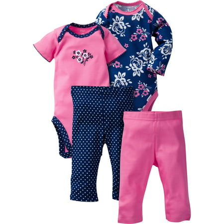 Newborn Baby Girl Mix N' Match Onesies Bodysuits & Slim Pants, 4pc Set for $<!---->
