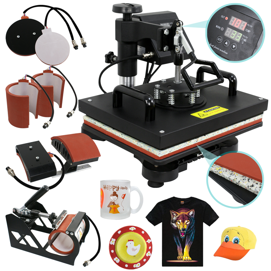 ZENY 6 IN 1 COMBO HEAT PRESS T-SHIRT HAT CAP MUG DIGITAL TRANSFER SUBLIMATION MACHINE