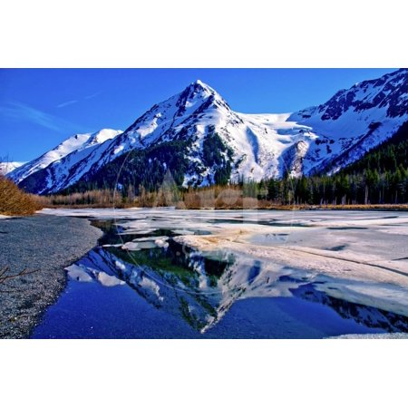 Beautiful Reflection of Snowy Mountain in Partially Frozen Lake in Alaska. Print Wall Art By Richard (Reflection Lake Alaska)