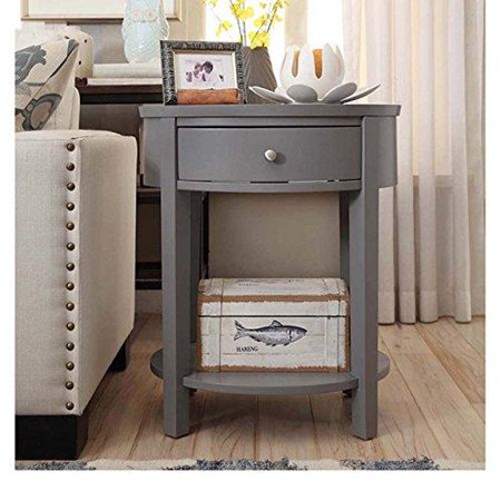 Modern Style Wood Accent Gray Nightstand End Sofa Table