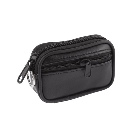 Faux Leather 2 Pocket Zipper Pouch Coin Purse Black for