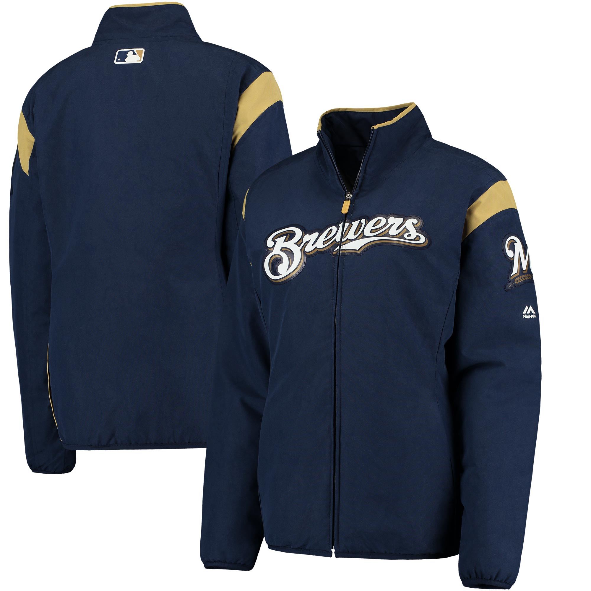 Milwaukee Brewers Majestic Women's On-Field Thermal Jacket - Navy