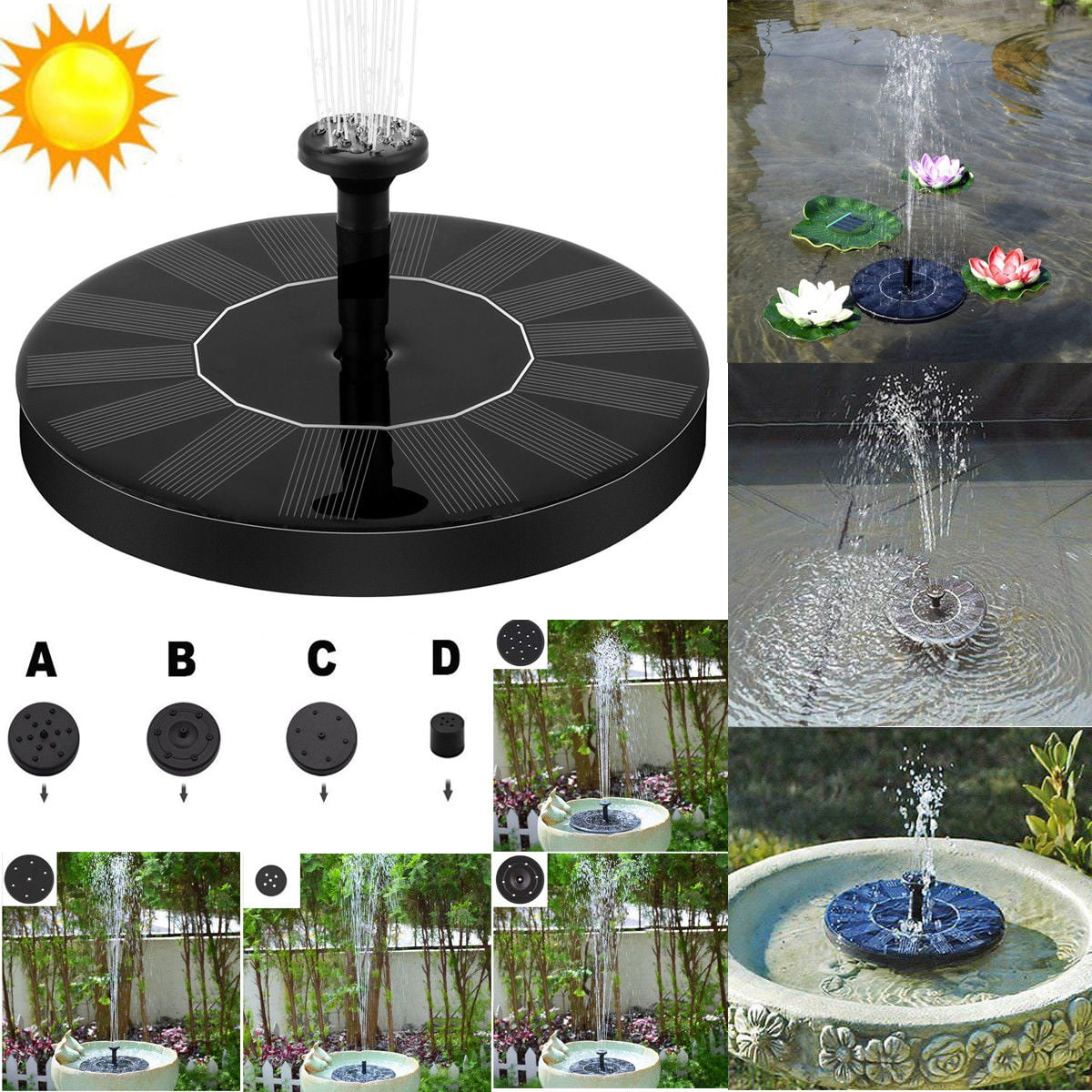 Solar Fountain Pump,Floating Outdoor Fountain,Free Standing Bird Bath Fountain Pump for Garden and Patio 3.5W with Light Solar Panel Kit Water Pump