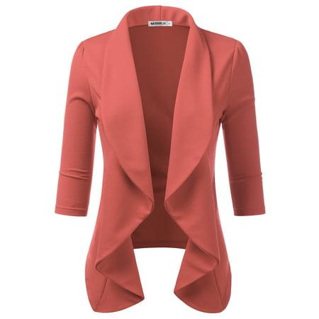 Doublju Women's Casual Basic Work Office CardiganTuxedo Open Front Blazer DARKMAUVE S (Blazer Offer)