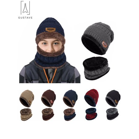 Trainer Womens Cap - GustaveDesign 2Pcs Winter Hat Scarf Set Lined Skull Cap Warm Knitted Beanie Hat for Men Women Kids