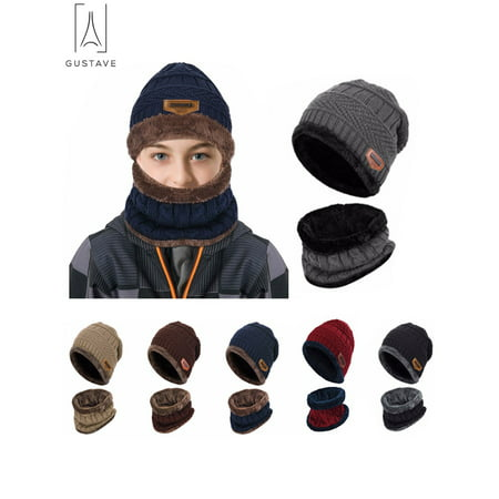Cashmere Lined Hat - GustaveDesign 2Pcs Winter Hat Scarf Set Lined Skull Cap Warm Knitted Beanie Hat for Men Women Kids