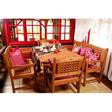 Milano Eucalyptus Rectangular Porto 5-Piece Patio Dining Set - Milano Eucalyptus Wood