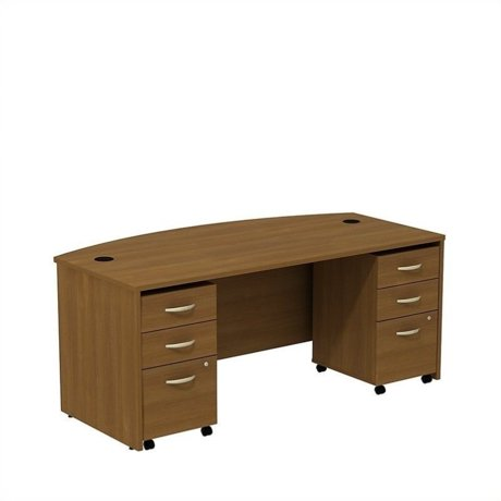 Bush Business Series C 72 Bowfront Desk With Pedestals In Warm Oak
