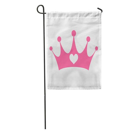 NUDECOR Tiara Pink Girly Princess Royalty Crown Heart Jewels Cute Queen Girl Garden Flag Decorative Flag House Banner 28x40 inch - image 2 of 2