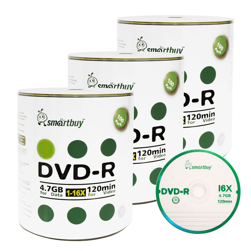 300 Pack Smartbuy 16X DVD-R 4.7GB 120Min Logo (Non-Printable) Data Blank Media Recordable Disc