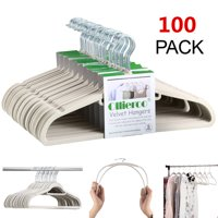Ollieroo 100 Pack Non Slip Velvet Hangers Set Heavy Duty Clothes Hanger with 360 Swivel Hook,Beige