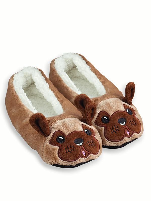 Womens Fuzzy Animal Ballet Slippers, X-Large, Black