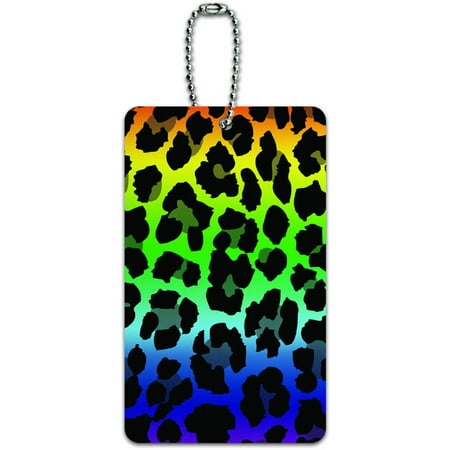 Graphics and More Leopard Spots Animal Print Rainbow ID Tag Luggage Card for Suitcase or - Rainbow Animal Print