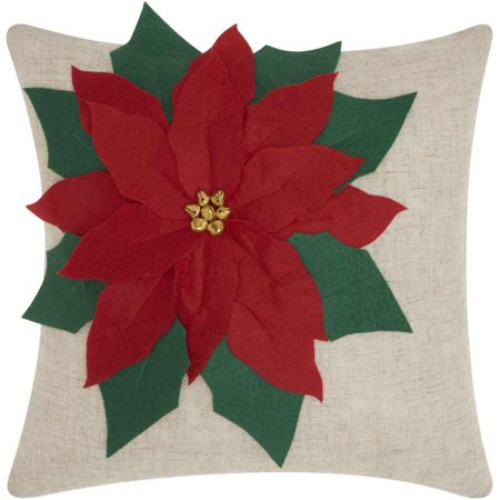 Nourison Home For The Holiday Poinsettia Natural Throw Pillow