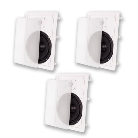 "Acoustic Audio MT8 In Wall 8"" Home Theater 3 Speaker Set 2 Way 900 Watt MT8-3S"