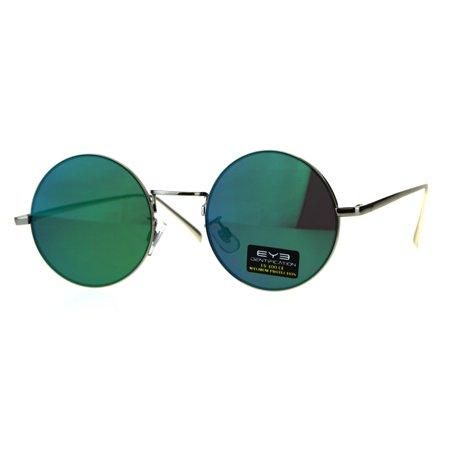 Mens Flat Panel Color Mirror Lens Round Circle Lens Metal Sunglasses Silver Teal - Teal Sunglasses