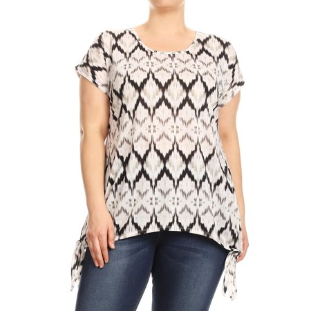 Women Plus Size Tied Bottom Hem Tribal Print Blouse Tunic Top Black 1XL (SE17038) Tribal Print Top