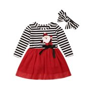 Xingqing Christmas Baby Girls Mesh Striped Dress Hairbands Xmas Outfits