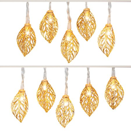 Extra Sparkle - Shiny Golden Leaves LED Indoor Light String - Perfect for Adding Extra Sparkle to Your Seasonal Display