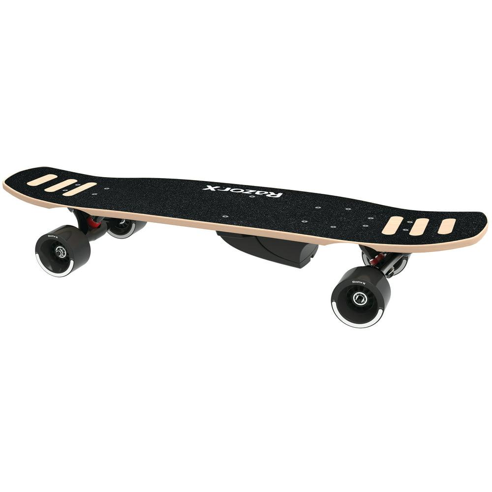 RazorX DLX Electric Skateboard Black- Silent Motor, Maple Deck