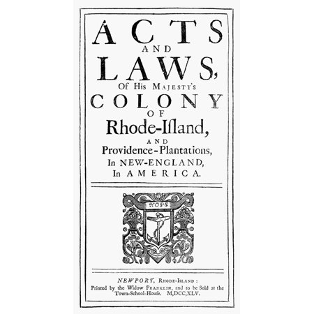Rhode Island Acts And Laws NActs And Laws Of His MajestyS