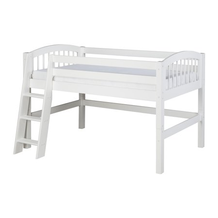 Camaflexi Twin Size Low Loft Bed Arch Spindle Headboard White Finish