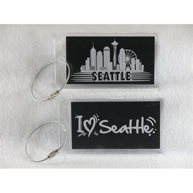 Destinations Neon Acrylic I. D.  Tag - Seattle  clear -pack of 2