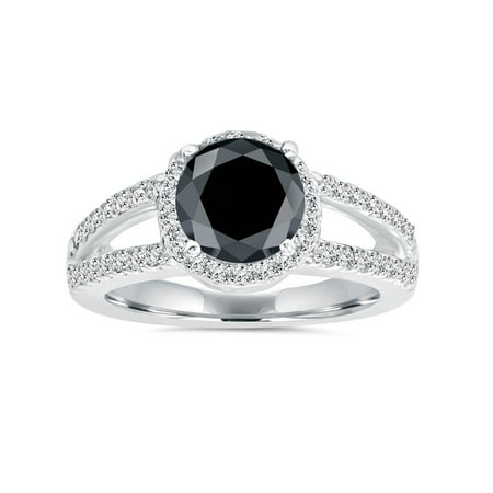 - 2ct Halo Split Shank Treated Black Diamond Ring 14K White Gold