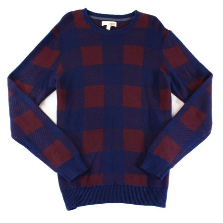 1901 Nordstrom New Blue Red Mens Size Medium M Check Crewneck Sweater