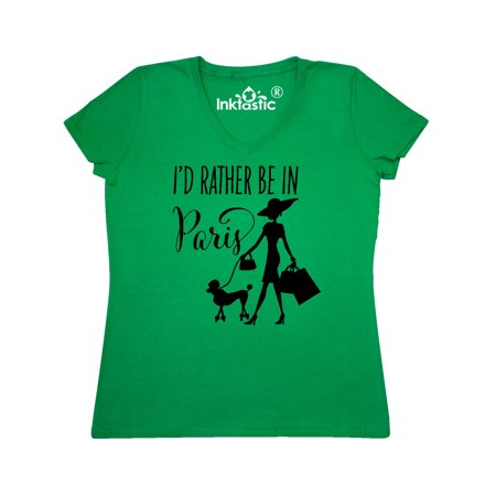I'd Rather Be in Paris- shopping and travel Women's V-Neck T-Shirt