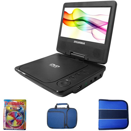 sylvania portable dvd player 7 swivel screen includes cleaning kit dvd portable dvd. Black Bedroom Furniture Sets. Home Design Ideas