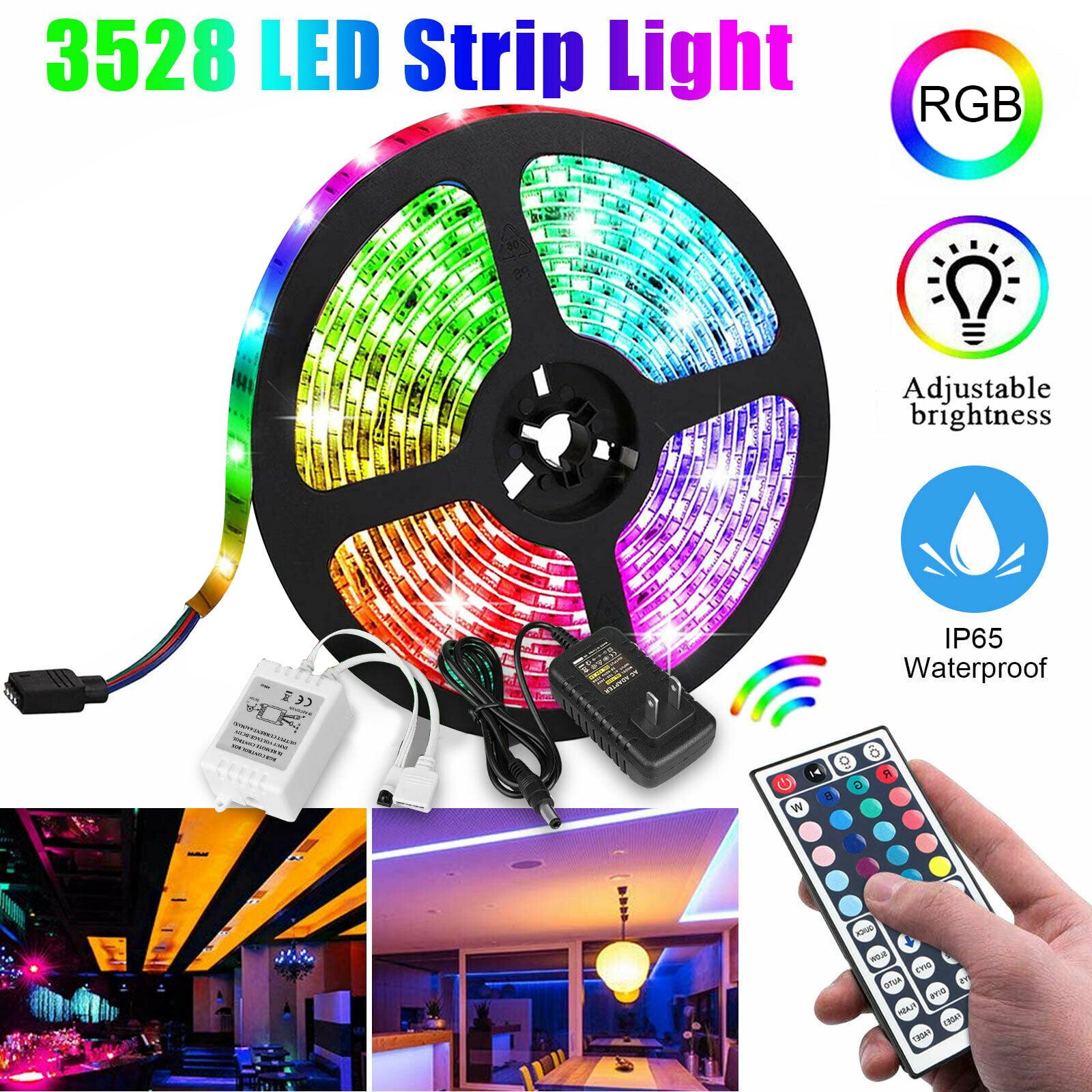 5M 10M 15M 3528 RGB LED Strip Light Full Kit 44 Key Remote Controller 12V Power