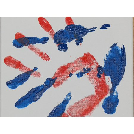 LAMINATED POSTER Watercolor Reprint Handprint Finger Paints Hand Poster Print 24 x