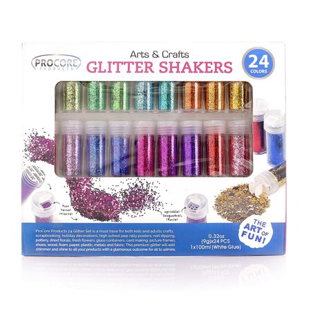 Glitter Shaker 24 Multi Colored Jar Set, Fine for Scrapbooking, Making Slime, Greeting Cards, Great for Holiday Decorations, Bonus Craft Glue Bottle - Scrapbooking Glue