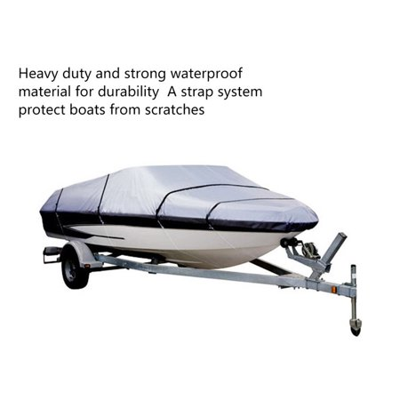 GRAY HEAVY DUTY WATERPROOF MOORING BOAT COVER FITS LENGTH 16' 17' 18.5' SUPERIOR TRAILERABLE BOAT COVERS 600 DENIER V-HULL FISHING SKI BOAT OUTBOARD BOAT