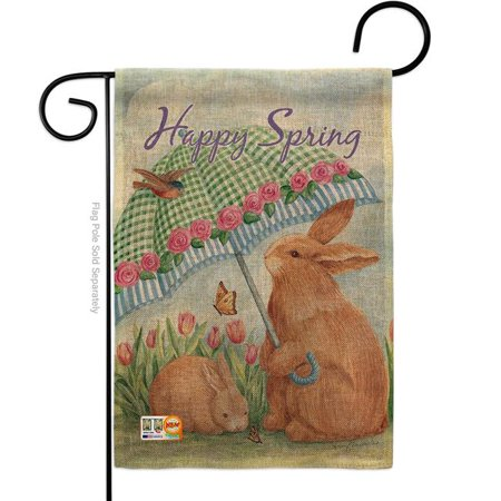 13 X 18 5 In Bunnies With Umbrella Burlap Spring Easter