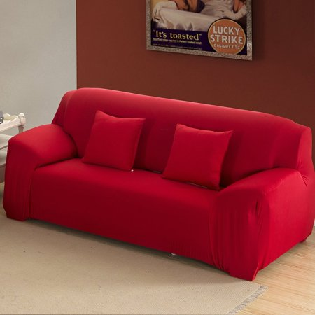 Sofa Slipcover Stretch Cover Anti Wrinkle Spandex Fabric Chair Loveseat Couch Solid Color Wine Red 2 Seat