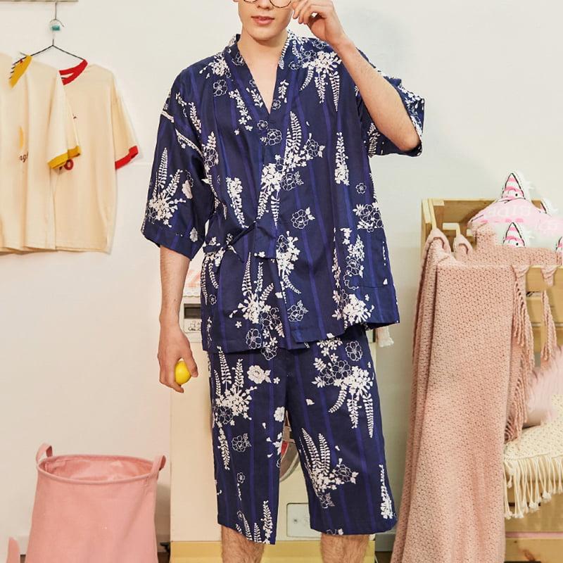Details about  /INCERUN Mens Silky Floral Pajamas Kimono Nightwear Loungewear Bathrobe Sleepwear