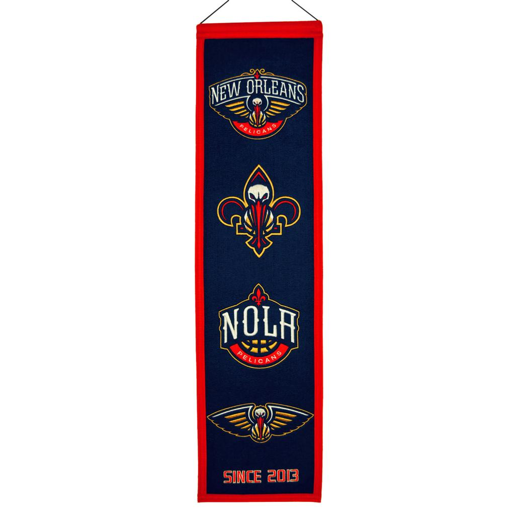 "New Orleans Pelicans Official NBA 8"" x 32"" Heritage Banner Flag"