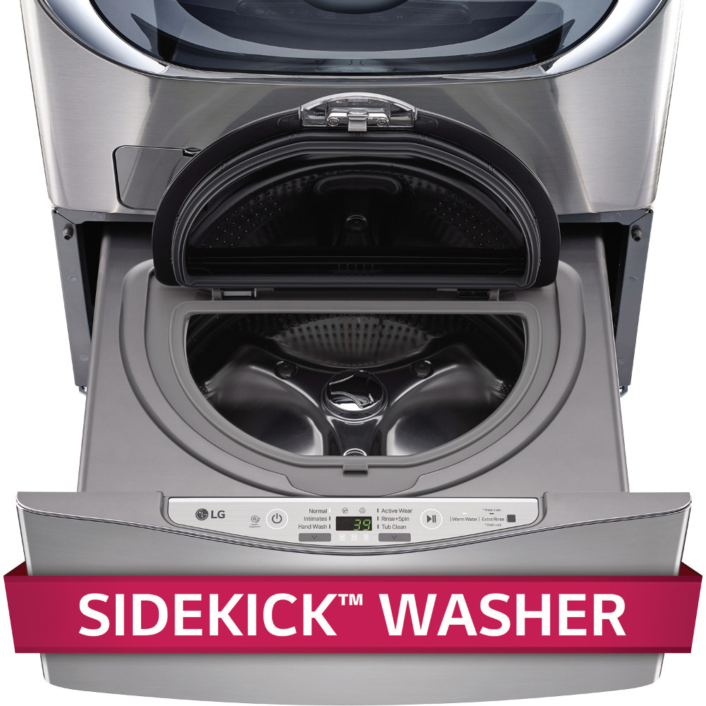 WD100CV 27 SideKick Pedestal Washer for Front Load Washer with 1.0 cu. ft. Right Size Capacity  Specialty Cycles  and Direct Drive Motor: Graphite Steel""
