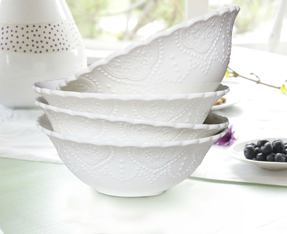 Cereal Bowls Set 4 Porcelain Bone China White Embossed Pattern 15 Ounce Each Serving Bowl... by
