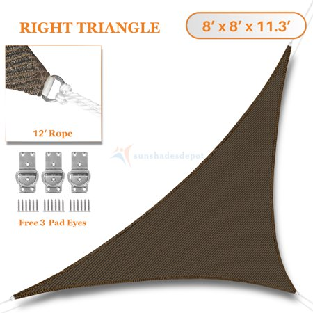 Sunshades Depot 8' x 8' x 11.3' Sun Shade Sail Right Triangle Permeable Canopy Brown Custom Size Available Commercial Standard ()