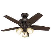 """Hunter 42"""" Newsome Brushed Nickel Ceiling Fan with Light Kit and Pull Chain"""
