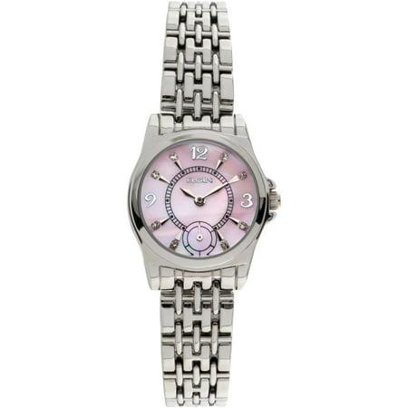 Mother Of Pearl Silver Wrist Watch - Elgin Women's Silver-Tone Light Pink Mother of Pearl Multifunction Dial Bracelet Watch