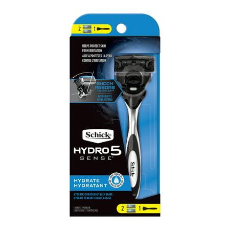 Schick Hydro Sense Hydrate Razor for Men, Includes 1 Razor Handle and 2 Razor Blade Refills